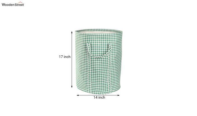 Green Check Print Cotton Laundry Basket-5