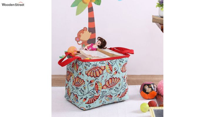 Green Multipurpose Cotton Laundry Basket-1