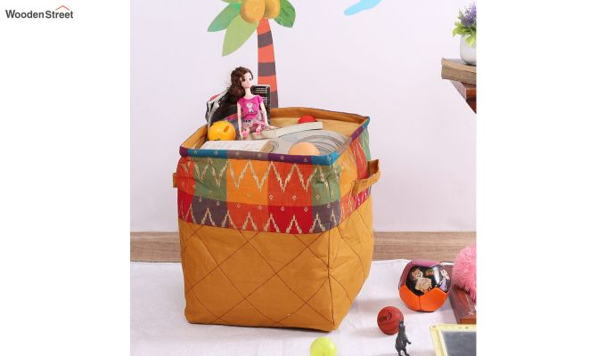 Orange Multipurpose Cotton Laundry Basket-1