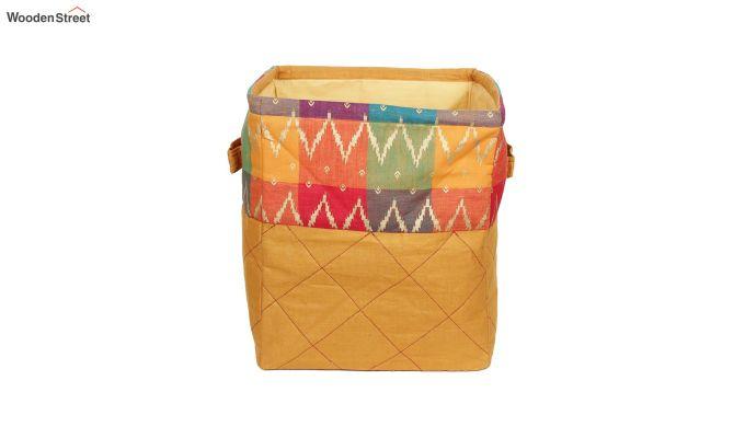 Orange Multipurpose Cotton Laundry Basket-2