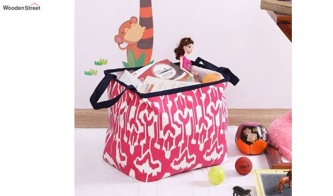 Pink and White Multipurpose Cotton Laundry Basket-1