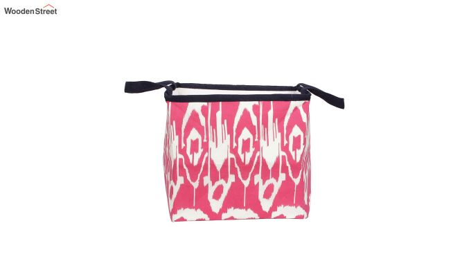 Pink and White Multipurpose Cotton Laundry Basket-3