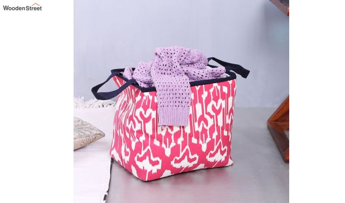Pink and White Multipurpose Cotton Laundry Basket-2
