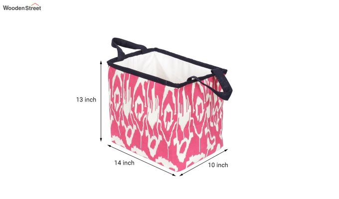 Pink and White Multipurpose Cotton Laundry Basket-5