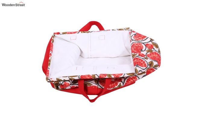 Red and White Multipurpose Cotton Laundry Basket-3