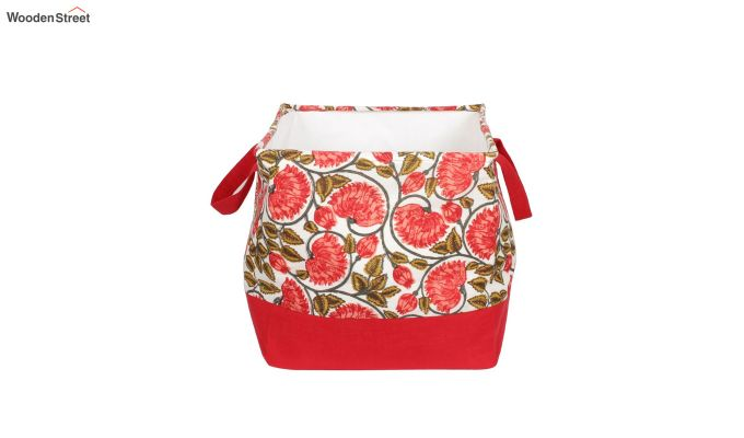Red and White Multipurpose Cotton Laundry Basket-4
