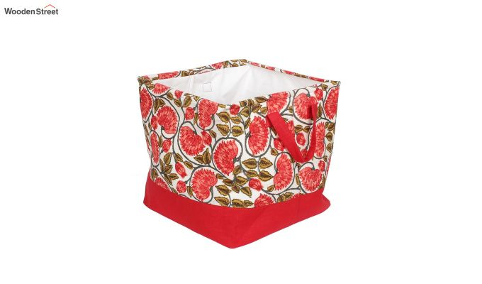 Red and White Multipurpose Cotton Laundry Basket-5