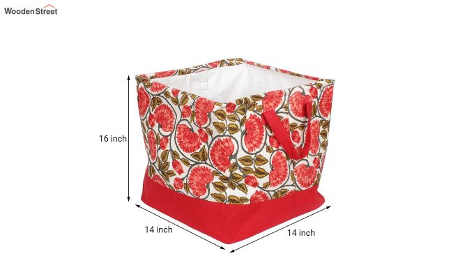 Red and White Multipurpose Cotton Laundry Basket-6