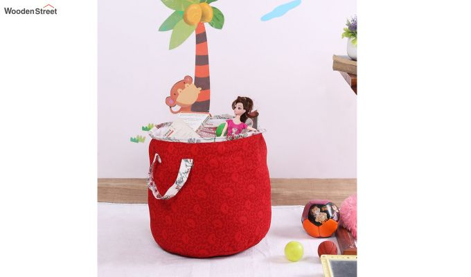 Red Cotton Multipurpose Laundry Basket-1