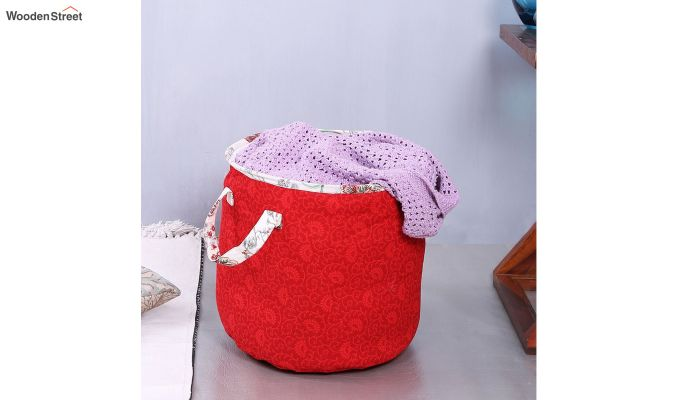 Red Cotton Multipurpose Laundry Basket-2