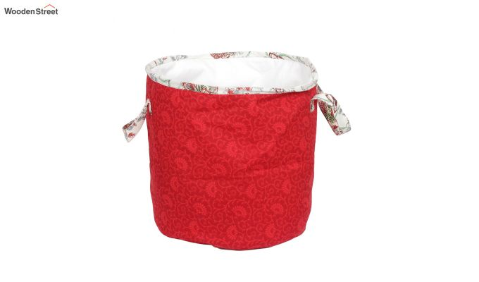 Red Cotton Multipurpose Laundry Basket-4