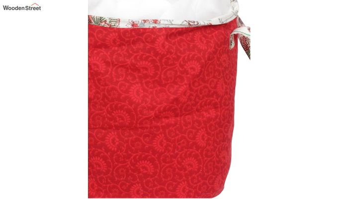 Red Cotton Multipurpose Laundry Basket-5
