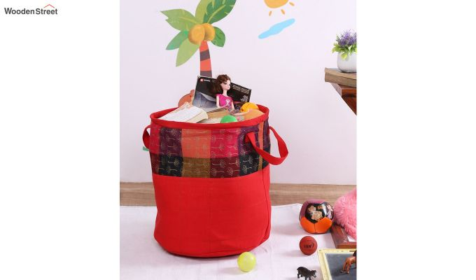 Red Multipurpose Cotton Laundry Basket-1