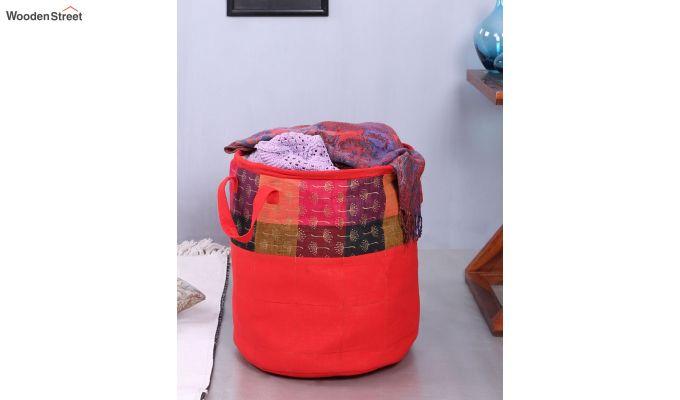 Red Multipurpose Cotton Laundry Basket-2