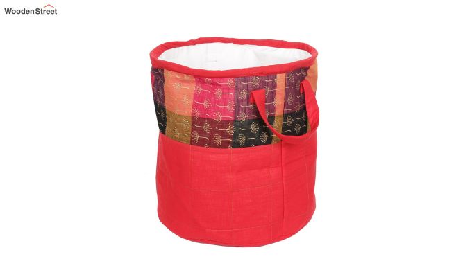 Red Multipurpose Cotton Laundry Basket-5