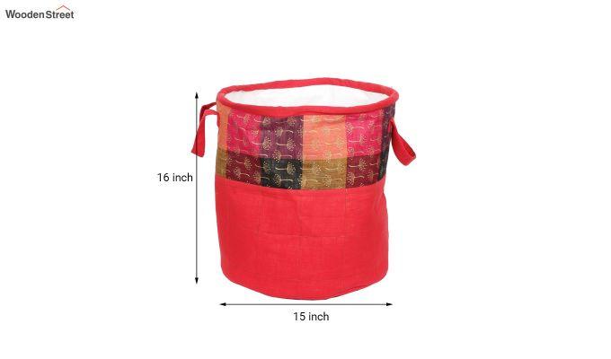 Red Multipurpose Cotton Laundry Basket-6