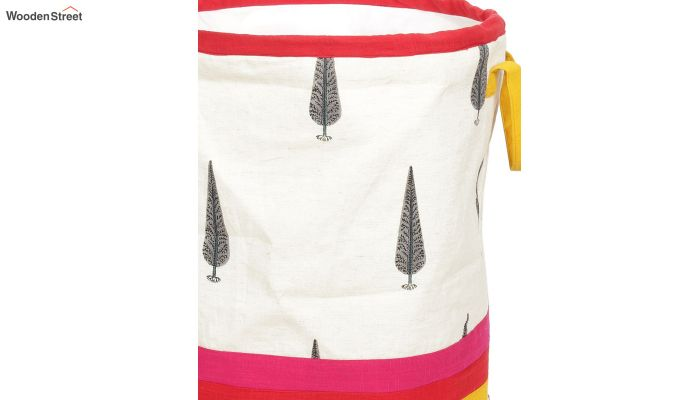 White and Red Multipurpose Cotton Laundry Basket-4