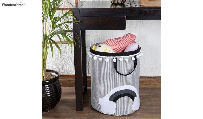 White Cloud Patch Cotton Laundry Basket-1