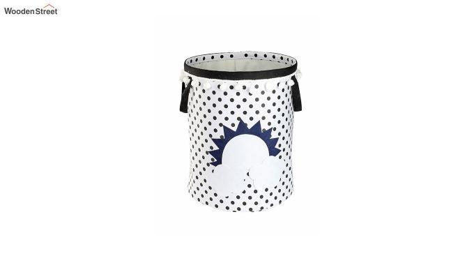 White Sun Patch Cotton Laundry Basket-2