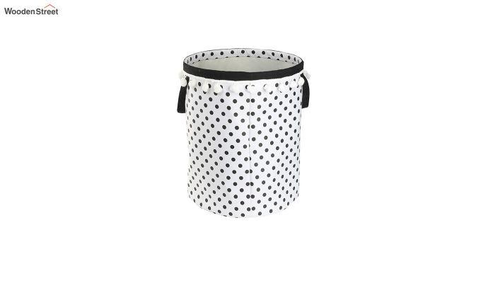 White Sun Patch Cotton Laundry Basket-3