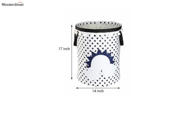 White Sun Patch Cotton Laundry Basket-5
