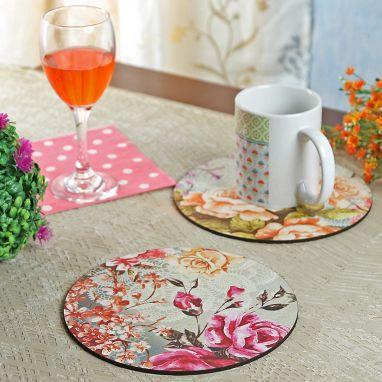 Floral MDF Trivets - Set of 4