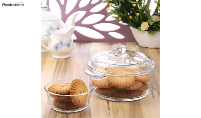 1 Litre Glass Serving Bowl with 6 Bowls-1