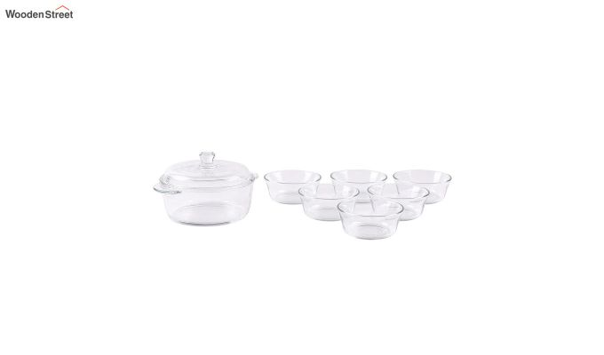 1 Litre Glass Serving Bowl with 6 Bowls-2