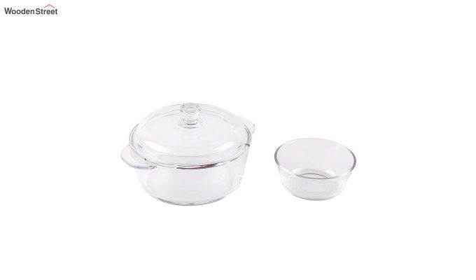 1 Litre Glass Serving Bowl with 6 Bowls-3
