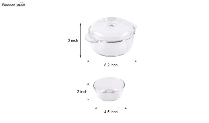 1 Litre Glass Serving Bowl with 6 Bowls-7