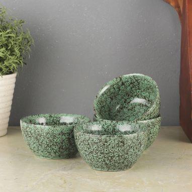 Green Foliage Ceramic Veg Bowls - Set of 4
