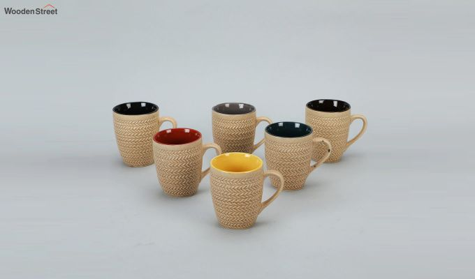 300 ML Ceramic Coffee Mugs - Set of 6-2
