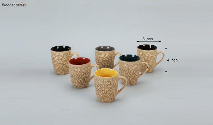 300 ML Ceramic Coffee Mugs - Set of 6-4