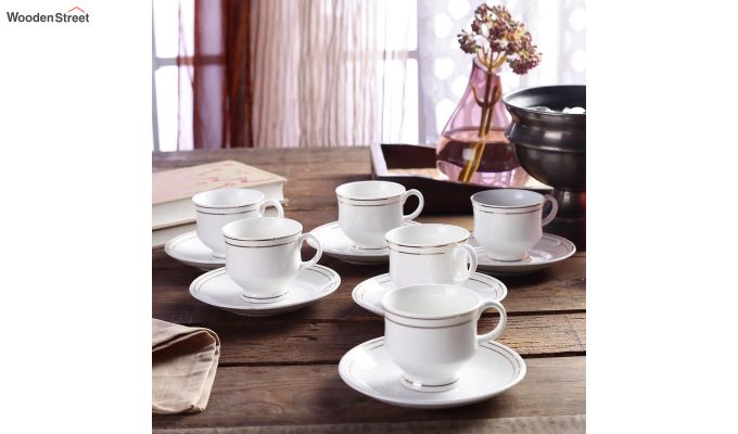 Bone China White 200 ML Cups & Saucers Set of 6-1