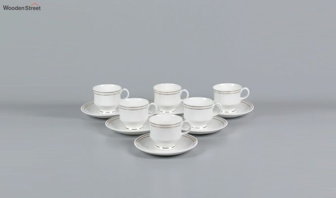 Bone China White 200 ML Cups & Saucers Set of 6-2