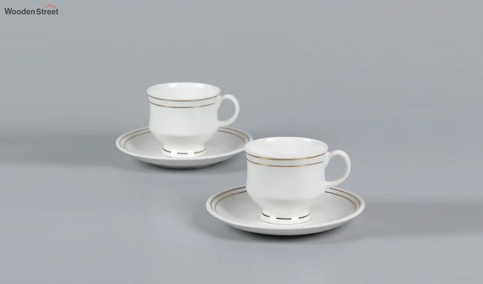 Bone China White 200 ML Cups & Saucers Set of 6-3
