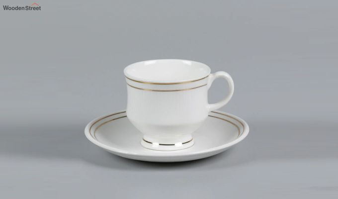 Bone China White 200 ML Cups & Saucers Set of 6-4