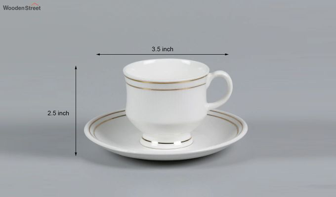 Bone China White 200 ML Cups & Saucers Set of 6-5