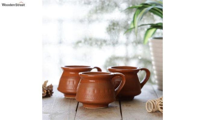 Ceramic Brown 100 ML Cups - Set of 6-1