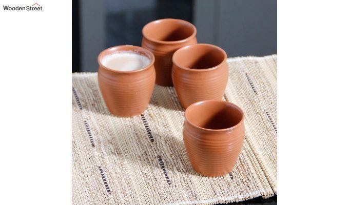 Ceramic Brown 150 ML Cups - Set of 6-1