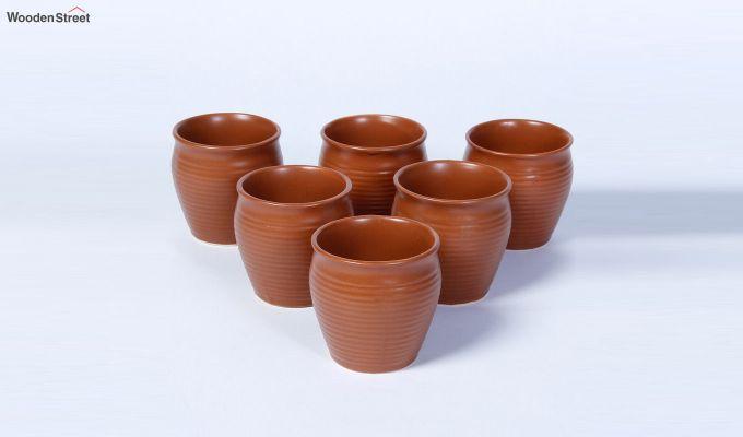 Ceramic Brown 150 ML Cups - Set of 6-2