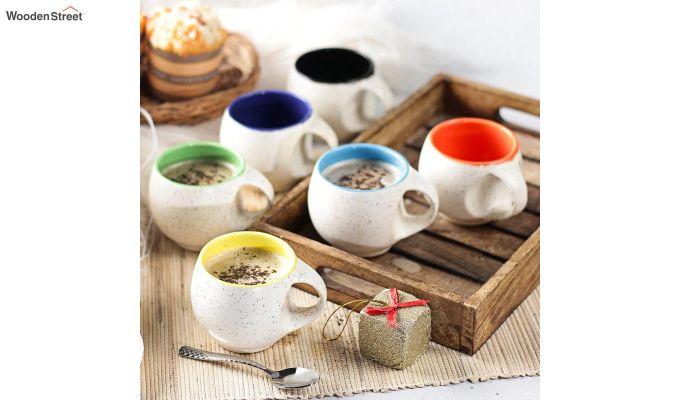 Ceramic White 180 ML Cups - Set of 6-1