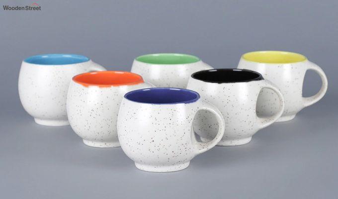 Ceramic White 180 ML Cups - Set of 6-2