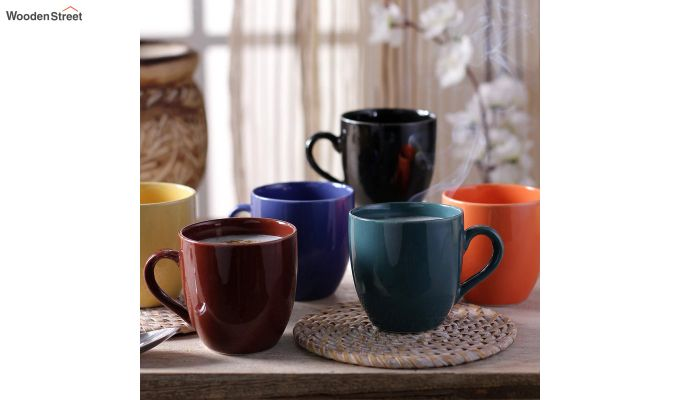 Stoneware 200 ML Multicolour 6 Cups with Tray-1