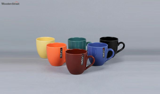 Stoneware 200 ML Multicolour 6 Cups with Tray-3