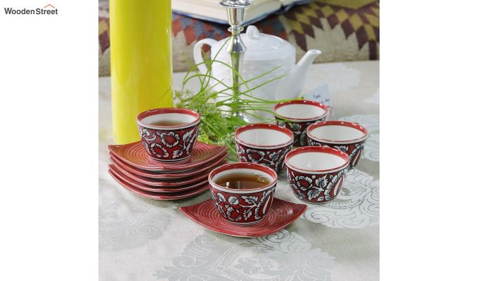 Stoneware Red 150 ML Cups & Saucers Set of 6-1
