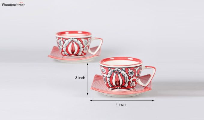 Stoneware Red 150 ML Cups & Saucers Set of 6-5