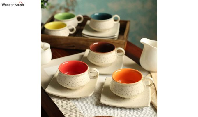 Stoneware White 150 ML Cups & Saucers Set of 6-1