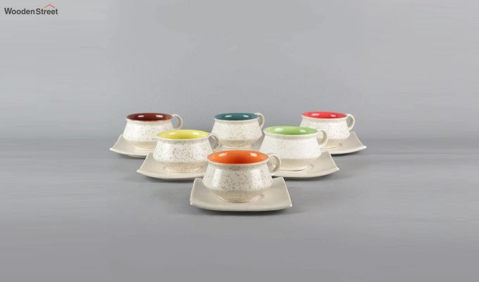 Stoneware White 150 ML Cups & Saucers Set of 6-2