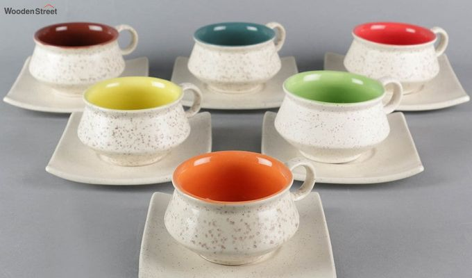 Stoneware White 150 ML Cups & Saucers Set of 6-3